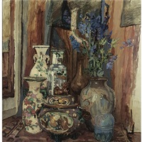a still life with chinese vases by willem elisa roelofs