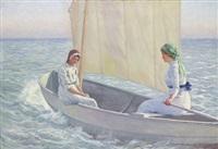 två flickor i segelbåt en solig sommardag by emil (harald emanuel) lindgren
