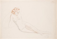 untitled - study of a seated red head (july) by alberto vargas