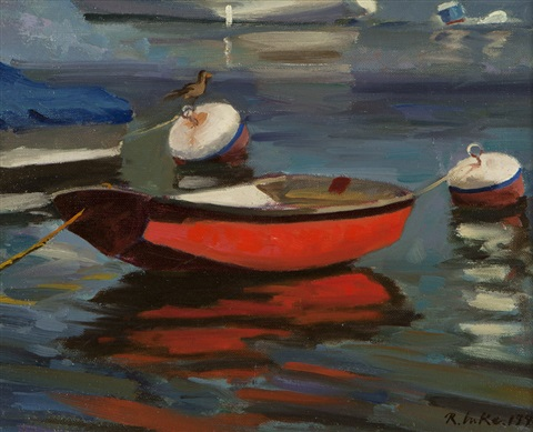 red dinghy by randall lake