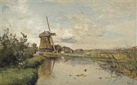 a river landscape with a windmill by paul joseph constantin gabriël