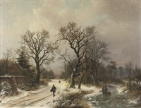 on a snowy track in winter by alexander joseph daiwaille
