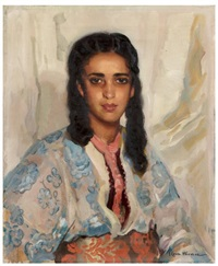 jeune marocaine au caftan fleuri by josé cruz herrera