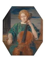 mädchen mit cello by friedrich august von kaulbach