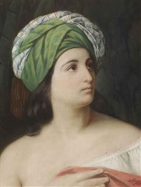 portrait of a girl with an oriental headdress by francesco hayez