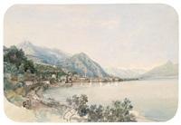 blick über den comer see auf bellaggio, signaturfragment by thomas ender