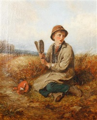 boy in a field with a bird scarer by john wells smith