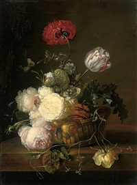 tulips, roses, peonies, jasmin, convulvulus, poppies and other summer blooms in a basket by jan frans van dael