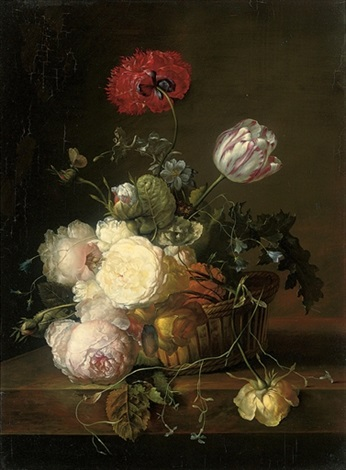 tulips roses peonies jasmin convulvulus poppies and other summer blooms in a basket by jan frans van dael