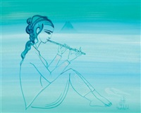 femme a la flûte et le bou kornine by jellal ben abdallah