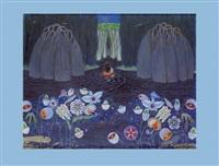 mythologische darstellung mit blüten im vordergrund by carl krenek