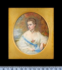 mrs kirkman finlay (née jane callander) aunt muff, wearing white dress, lace shawl, blue purse on a ribbon worn across her chest by reginald easton