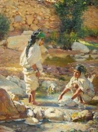 deux jeune filles à l'oued de bou saada by alphonse etienne dinet