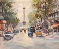 busy paris street scene with view to place de la bastille by claude aliotti