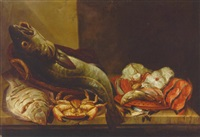 still life of plaice, a cod, crab, mussels, a gurnard and fish steaks on a ledge by isaac van duynen