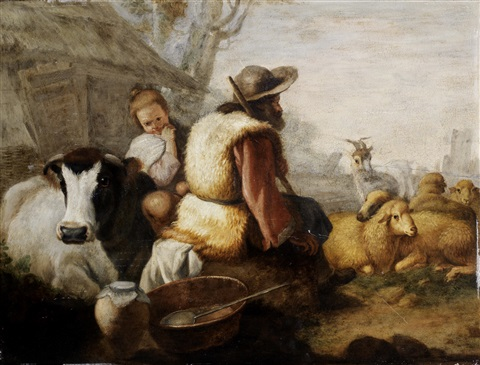 drovers resting with their flock and peasants grazing cattle 2 works by francesco londonio