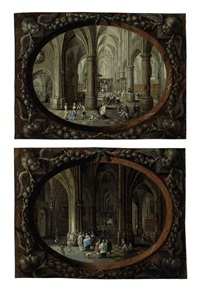 interior of a gothic church by day (+ interior of a gothic church by night; pair) by peeter neeffs the elder