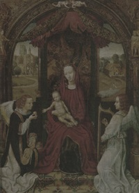 the madonna and child enthroned, attended by angels playing musical instruments by hans memling