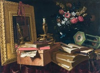 a vanitas still life with a mirror, a candle, an hourglass, books, flowers in a vase and a case, all on a draped table by master of the vanitas texts
