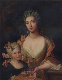 portrait of a lady in a yellow dress with flowers in her lap, with her daughter by gilles allou