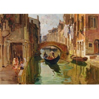 gondalier and passersby on a venetian backwater by angelo brombo
