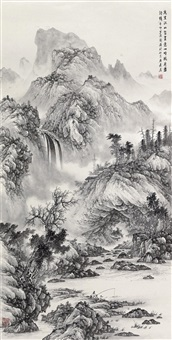 溪山垂钓 (landscape) by liu guang
