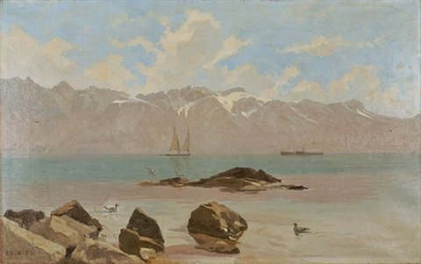 voilier et vapeur sur le léman by francois louis david bocion