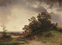 travellers on a path in a dune landscape by johannes warnardus bilders