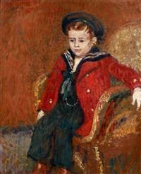 garconnet au manteau rouge by georges lemmen