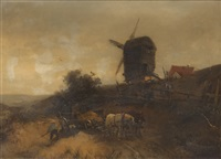 holländische landschaft mit mühle by heinrich hiller