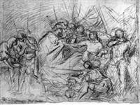la mort de germanicus recto: une etude pour les deuz    soldats du group de gauche de la composition.... by antoine rivalz