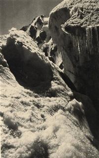 a schrund near the trident de la brenva by francis sydney smythe