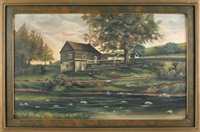 landscape with a log cabin by franklin eshelman