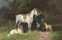 reiter mit zwei pferden und hunden by hans (johann) haag