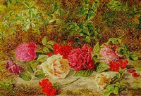 geraniums and roses on a mossy bank by charles archer