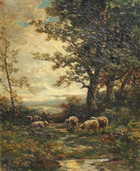landscape with sheep by carl weber