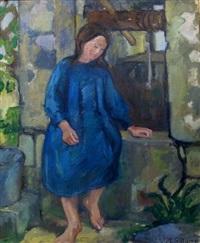 jeune femme à la robe bleue by valentine metein-gilliard
