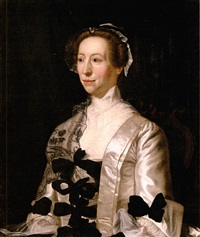 portrait of a lady wearing a white satin dress with black bows by henry pickering