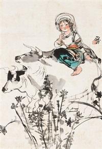 少女与牛 立轴 设色纸本 by cheng shifa