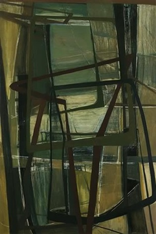 abstract in brown and green by margaret margo hetty lewers