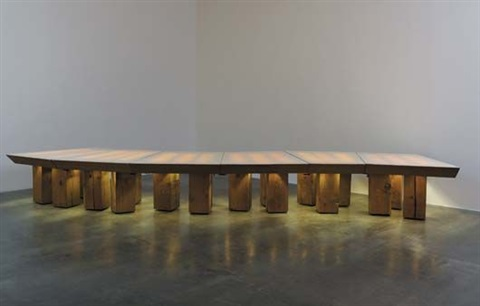 illuminated conference table for the temporary offices of chiatday advertising co venice california by frank gehry