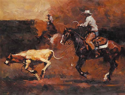 untitled calf roping by jan liuwen