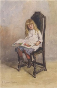 young girl reading by helen sheldon jacobs smillie