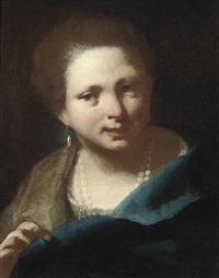 portrait of a lady in a blue dress and pearls by domenico maggiotto