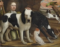 a man in a green suit kneeling next to a wiltshire hound and a cockatoo, with other hounds and a parrot by anglo-dutch school (17)