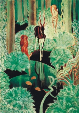 interior of a forest with deers black spring by aladar fay