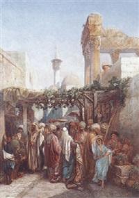 promeneurs aux abords de la colonnade de bacchus à latakieh by camille rogier