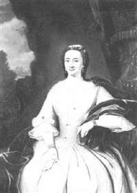 portrait of a lady three-quarter length, wearing a white dress and blue stole by tiebout regters