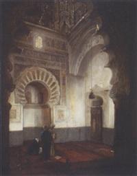 prière à l'intérieur d'une mosquée by heinrich maria staackmann