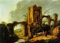 landschaft mit ruinen und hirten by jean-baptiste antoine tierce